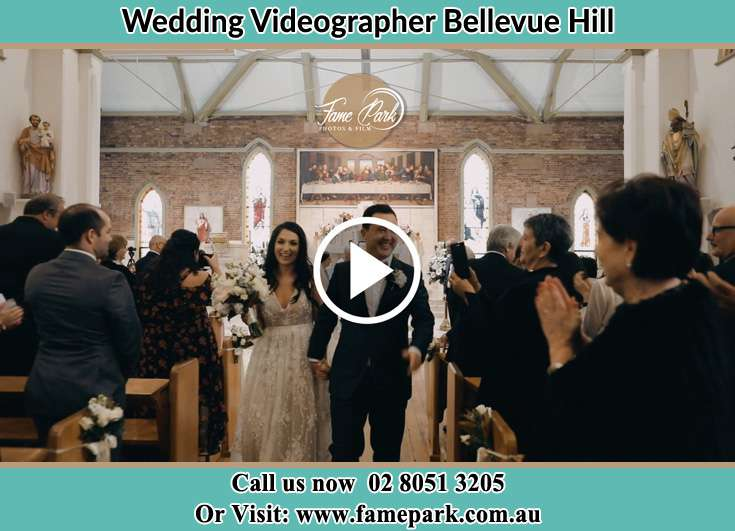 Bride and Groom walking at the aisle Bellevue Hill NSW 2023