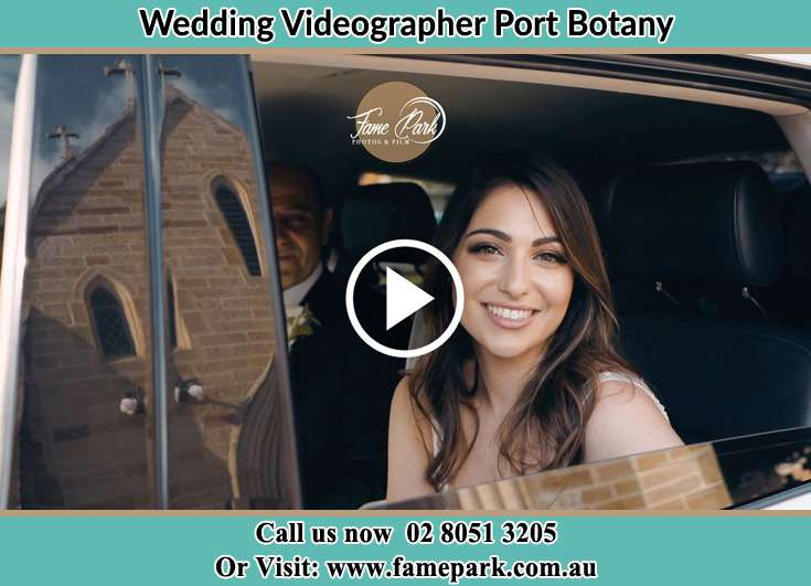 The Bride inside her wedding car Port Botany NSW 2036