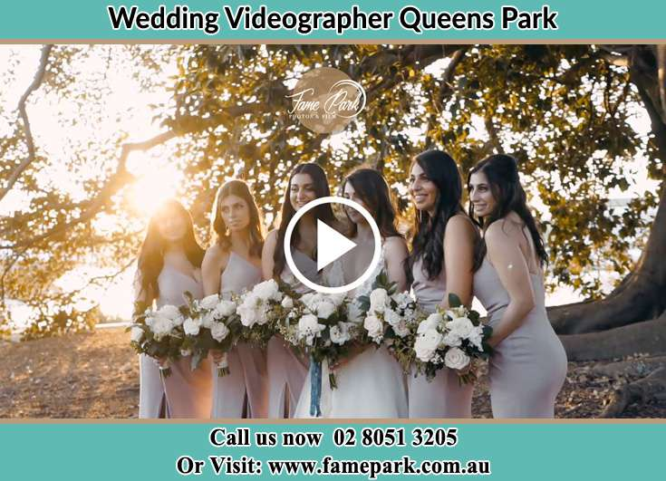 The Bride with her bridesmaids posing for the camera Queens Park NSW 2022